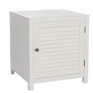 Table Chevet Blanc : table de chevet en bois blanc boudebois univers de la chambre tousmesmeubles ~ Teatrodelosmanantiales.com Idées de Décoration