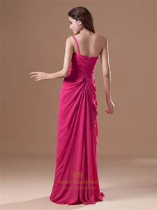 Hot Pink One Shoulder Chiffon Bridesmaid Dresses With ...