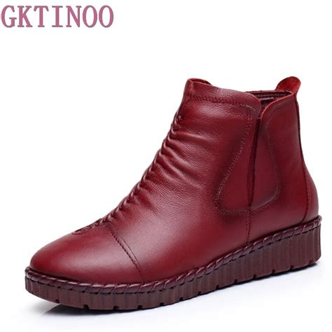 Fashion Winter Shoe Martin Boots Genuine Leather Ankle