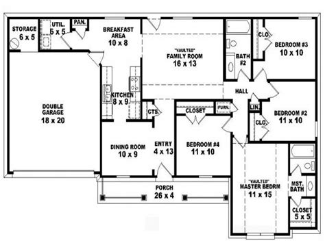 4 bedroom one house plans 4 bedroom one ranch house plans inside 4 bedroom 2