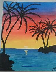 Tropical Beach Sunset Paintings