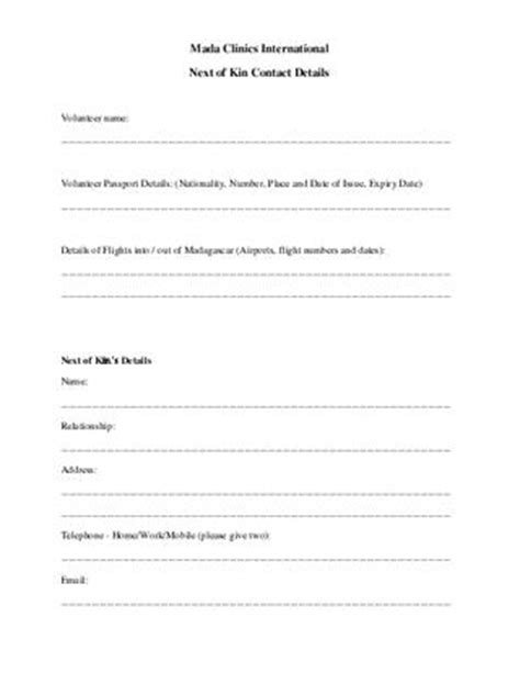Next Of Kin Form Template by Next Of Kin Form Related Keywords Next Of Kin Form