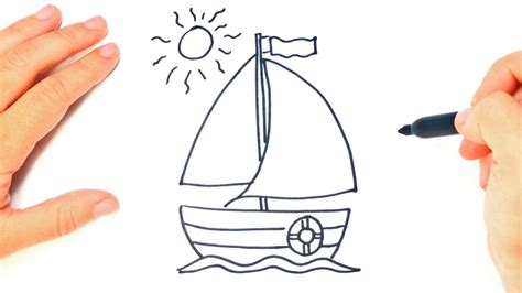 How To Draw A Boat Sailing by How To Draw A Sailing Boat Step By Step