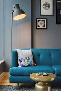 blu dot standing lamp next to the gorgeous couch decoist With floor lamp next to sofa
