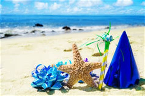 birthday decorations   beach stock photo image