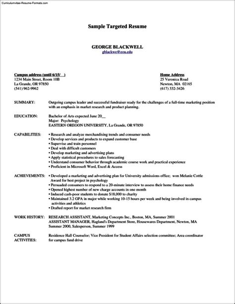 Targeted Resume Template by Targeted Resume Template Free Sles Exles