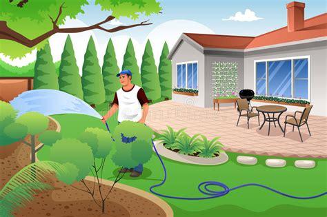 Man Watering His Grass And Garden Stock Vector