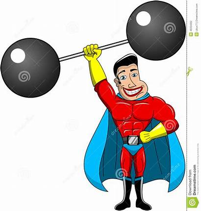 Superhero Weightlifter Cartoon Lifting Heavy Power Weights