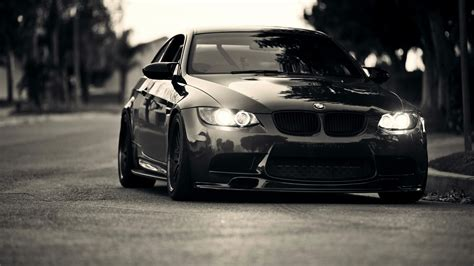 bmw black front view mystery wallpaper