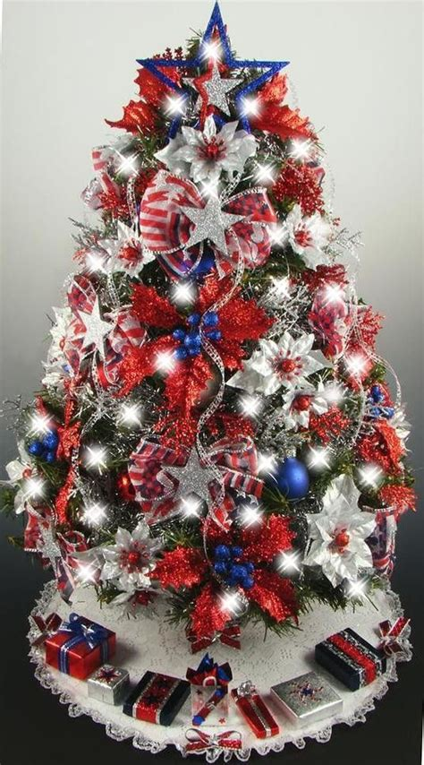 decorated mini tabletop christmas tree patriotic 4th of july 21 inches 50 clear lights