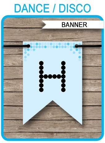 dance banner template blue disco birthday banner