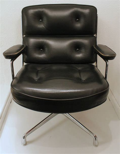 eames black leather lobby chair by vitra and miller for