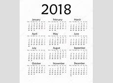Sencillo calendario para el año 2018 — Foto de Stock