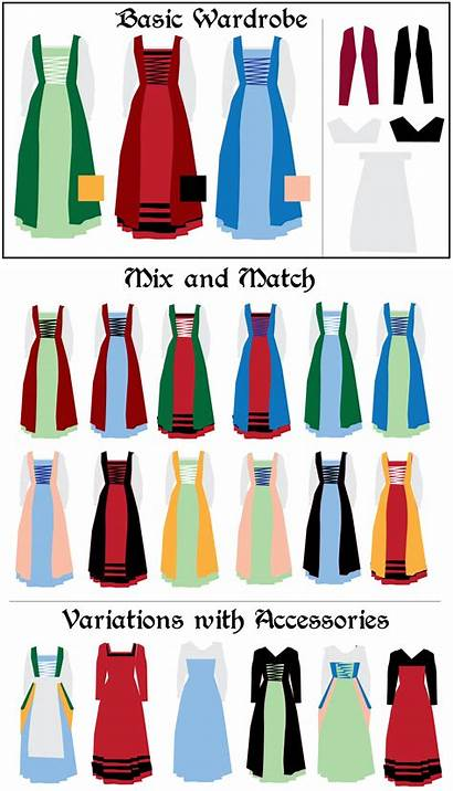Clothing Clipart Gown Flemish Chemise Colors Wardrobe