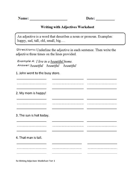 parts speech worksheets adjective worksheets