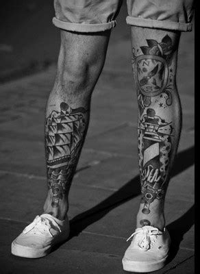 24+ Black And White Leg Tattoos