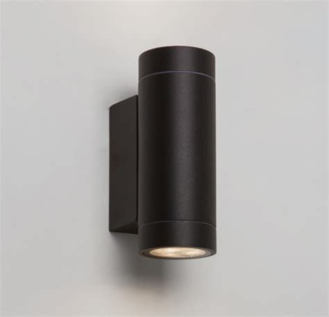 astro dartmouth twin led outdoor wall light painted black