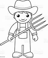 Farmer Coloring Pages Vector Farm Outline Printable Illustration Sheets Pitchfork Drawing Farmers Colouring Community Preschool Helpers Agriculture Activity Printables Worksheets sketch template