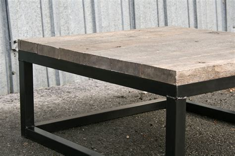 combine  industrial furniture reclaimed wood coffee table