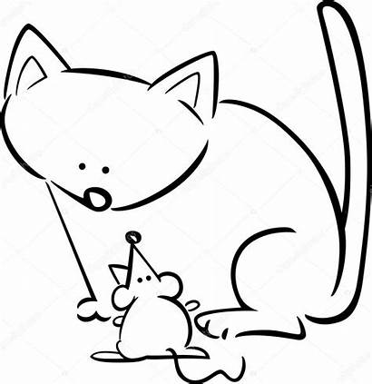 Mouse Cartoon Coloring Cat Clipart Doodle Chasing