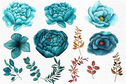 Teal Flowers Clipart Watercolor Clip Flower Lecoqdesign
