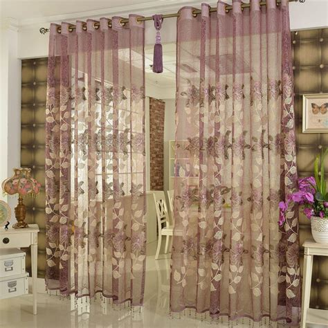 purple sheer curtains floral patterns for bedroom