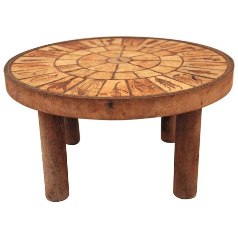 French Ceramic & Wooden Coffee Table By Roger Capron