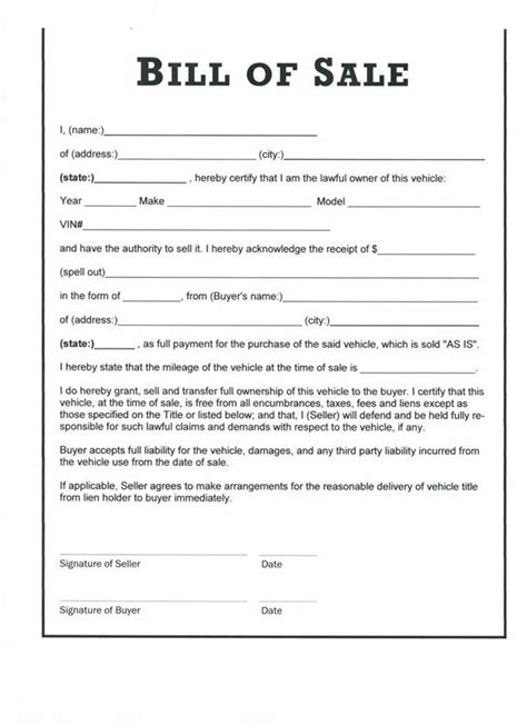 Free Printable Bill Of Sale Form Form (generic