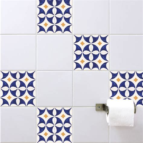 Spanish Tile Stickers Orange Blue By Spin Collective