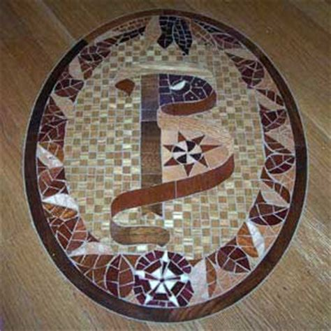 Mosaic tiles, wood inlay designs and wood stain patterns