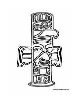 Native American Coloring Totem Pole Template Larger Credit sketch template