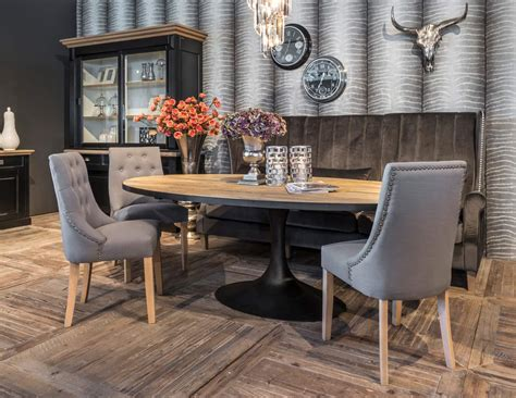 salle 224 manger table ovale bois pied m 233 tal richmond