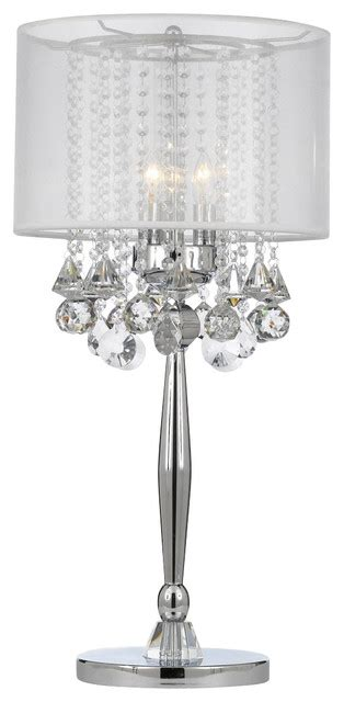silver mist  light chrome crystal table lamp  white shade contemporary table lamps