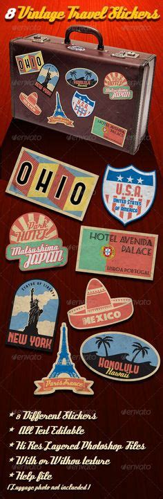 50 State Vintage Style Travel Decals Vinyl Stickers