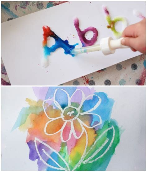 25 awesome projects for toddlers and preschoolers 707 | salt and glue painting wax resist painting