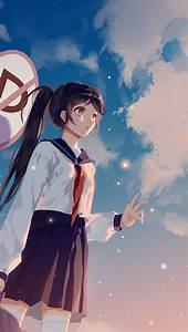 bc66-girl-school-girl-anime-sky-cloud-star-art