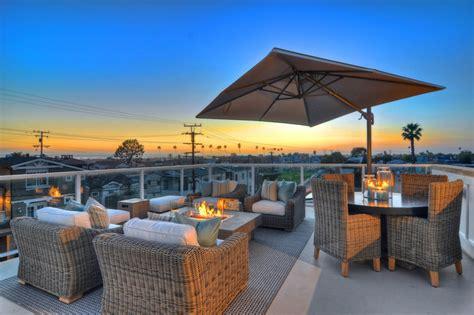over kitchen bar lighting newport beach rooftop patio traditional patio