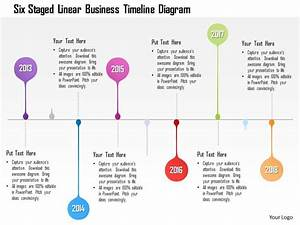 1214 Six Staged Linear Business Timeline Diagram
