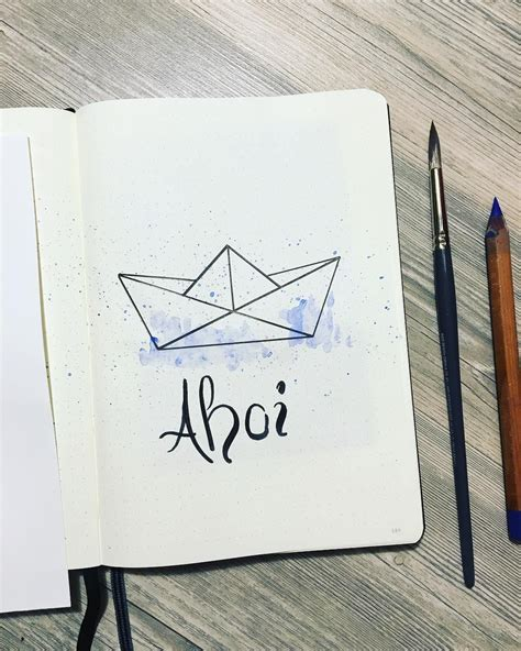 paper boat drawing bullet journal drawing ideas