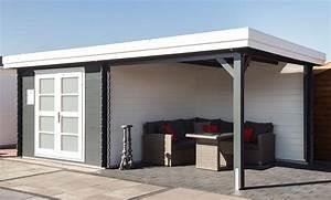 Gartenhaus Mit überdachter Terrasse : modernes gartenhaus mit flachdach und berdachter terrasse in grau und wei ma e 300x350 300cm ~ One.caynefoto.club Haus und Dekorationen