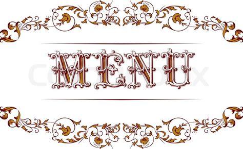 Antique Vintage Lace Border With Retro Menu Text