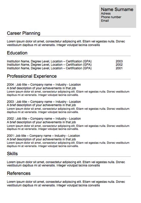 Default Resume Template by Resume Format Classic Resume 10 Exles Of Resumes