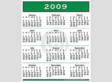 2009 Calendar – templates free printable