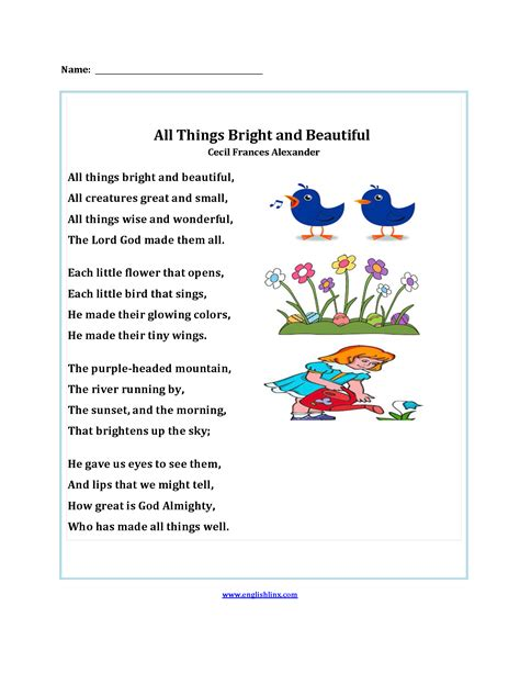 All Things Bright And Beautiful Poetry Worksheets Poetry
