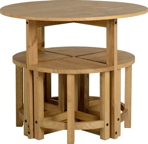 Dining Table And 4 Chairs Pine Wood Round Kitchen Set 5