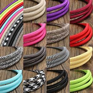 10m 2 Cord Color Vintage Twist Braided Fabric Light Cable
