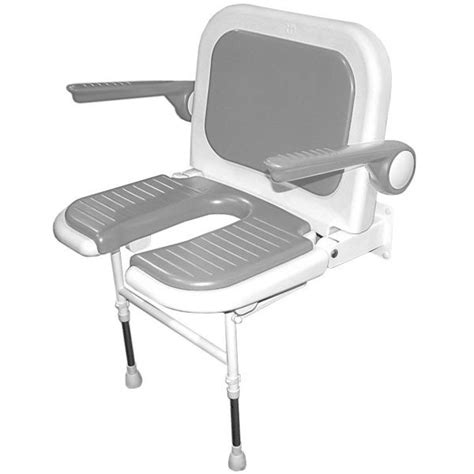akw wall mounted fold up wide shower chair padded u