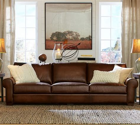 turner roll arm leather sofa pottery barn
