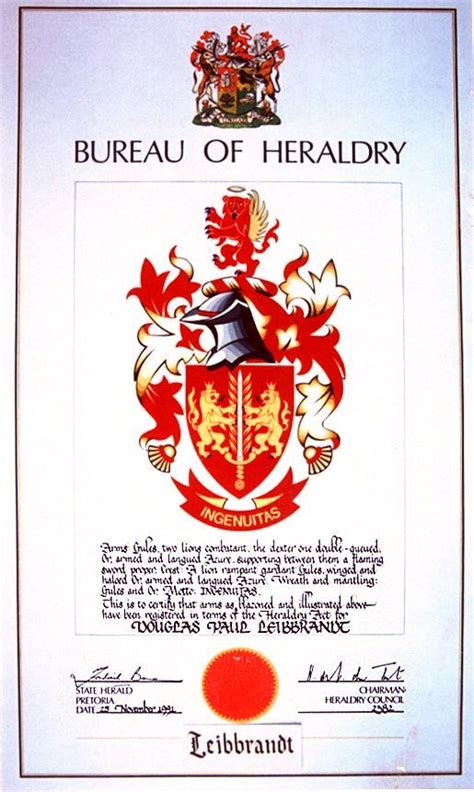 bureau dyk leibbrandt coat of arms from south africa