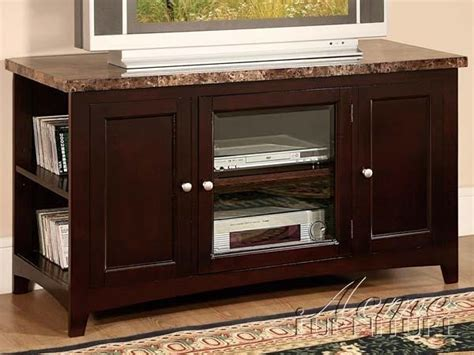acme furniture finely faux marble top tv stand in